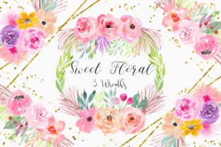 Print on Demand: Sweet Floral Wreath Watercolor Clipart Graphic Illustrations By PinkPearly