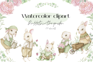 Print on Demand: Watercolor Clipart Rabbits in the Garden Graphic Illustrations By Marina.art.Dobrovolskaya