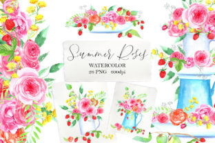 Print on Demand: Watercolor Summer Roses Clipart Graphic Illustrations By evgenia_art_art