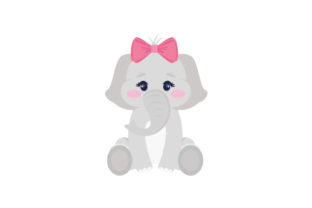 Cute Baby Elephant with a Bow on Its Head Animals Craft Cut File By Creative Fabrica Crafts