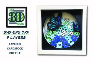 3D Flower Field - 3d Butterfly Graphic 3D Shadow Box By my3dsvg