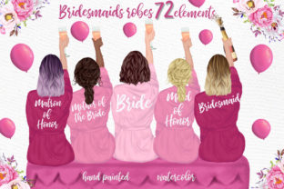 Print on Demand: Bridesmaid Clipart Bridesmaid Robes Graphic Illustrations By LeCoqDesign