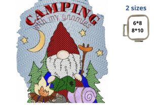 Camping Gnome Camping & Fishing Embroidery Design By LaceArtDesigns
