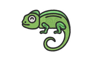 Chameleon Reptiles Embroidery Design By Embroiderypacks