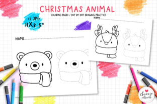 Print on Demand: Christmas Animal Coloring Pages Graphic Illustrations By Chonnieartwork