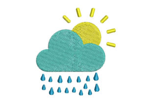 Cloud with Raindrops Spring Embroidery Design By Embroiderypacks