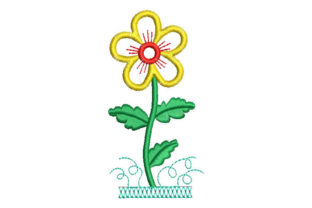 Flower with Green Leaves Single Flowers & Plants Embroidery Design By Embroiderypacks