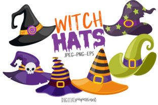 Print on Demand: Halloween Witch Hats Graphic Illustrations By DigitalPapers