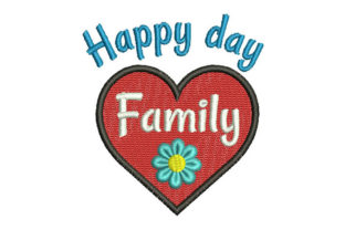 Happy Day Family Quotes Embroidery Design By Embroiderypacks