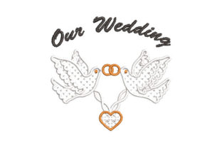 Our Wedding with Dove Wedding Embroidery Design By Embroiderypacks