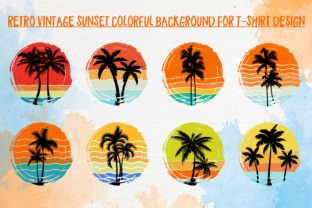 Print on Demand: Retro Vintage Sunset-Beach Palm Tree SVG Graphic Backgrounds By T-Shirt Tees