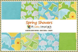 Print on Demand: Spring Showers Digital Paper Pack Graphic Backgrounds By A little Impish by Mx. ABP