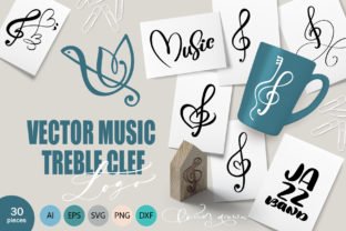Vector Music Treble Clef Logo Graphic Objects By Happy Letters