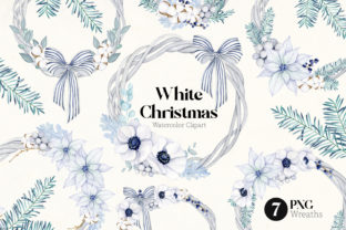 White Christmas Wreath Clipart Graphic Illustrations By SipkaDesigns