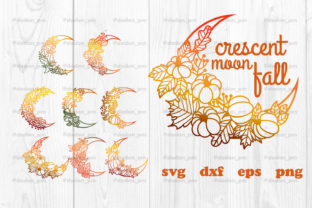 Print on Demand: Crescent Moon Fall Svg, Autumn Svg Graphic Print Templates By dadan_pm