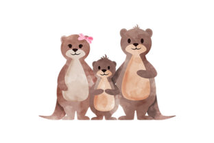 Watercolor Otter Family Animals Craft Cut File By Creative Fabrica Crafts