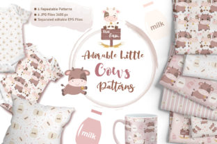 Print on Demand: Adorable Little Cows Digital Paper Set Graphic Patterns By DrawStudio1988