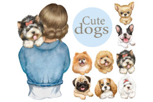 Cute Dogs Clipart.Girls and Dogs,animals Graphic Add-ons By EvArtPrint