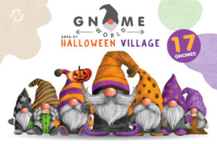 Print on Demand: Gnome Halloween PNG Clipart Bundle Graphic Illustrations By nesdigiart 1