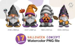 Print on Demand: Gnome Halloween PNG Clipart Bundle Graphic Illustrations By nesdigiart 2