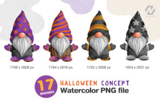Print on Demand: Gnome Halloween PNG Clipart Bundle Graphic Illustrations By nesdigiart 3
