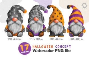 Print on Demand: Gnome Halloween PNG Clipart Bundle Graphic Illustrations By nesdigiart 4
