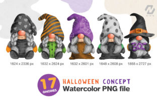 Print on Demand: Gnome Halloween PNG Clipart Bundle Graphic Illustrations By nesdigiart 5