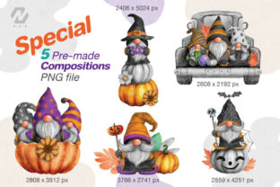 Print on Demand: Gnome Halloween PNG Clipart Bundle Graphic Illustrations By nesdigiart 7