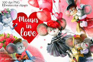 Mice and Love, Watercolor Cliparts PNG Graphic Illustrations By CherrypearStudio