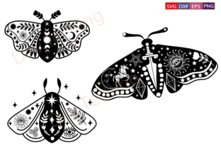 Moth Svg Bundle,Celestial Butterfly Svg Graphic Crafts By Dev Teching