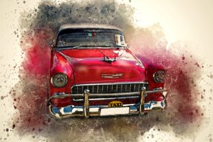 Print on Demand: Vintage Car Printables 300 Dpi Pack 24 Graphic Illustrations By The leaves river 1