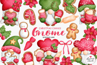 Print on Demand: Watercolor Christmas Cookies Gnome Graphic Illustrations By Chonnieartwork