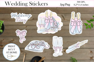 Print on Demand: Wedding Stickers PNG   Printable Sticker Graphic Crafts By LerVik