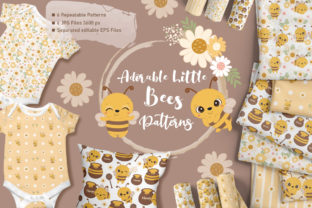 Print on Demand: Adorable Little Bees Digital Paper Set Graphic Patterns By DrawStudio1988