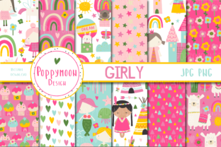Print on Demand: Girly Paper Set Graphic Patterns By poppymoondesign