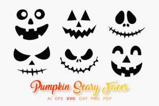 Print on Demand: Pumpkin Faces Halloween Scary Cliparts Graphic Crafts By DTCreativeLab