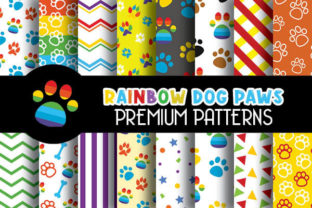 Print on Demand: Rainbow Color Dog Paws Patterns Graphic Patterns By Grafixeo