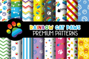 Print on Demand: Cat Rainbow Color Paws Patterns Graphic Patterns By Grafixeo