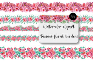 Print on Demand: Peonies Watercolor Seamless Border Graphic Patterns By ElenaZlataArt