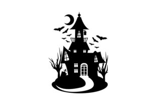 Silhouette of a Spooky House Halloween Craft Cut File By Creative Fabrica Crafts