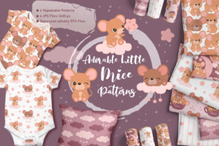 Print on Demand: Adorable Little Mice Digital Paper Set Graphic Patterns By DrawStudio1988