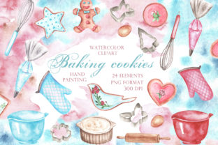 Baking Cookies Watercolor Clipart. Graphic Illustrations By sabina.zhukovets