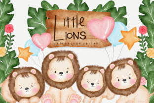 Cute Lions Watercolor Animal Clipart Graphic Illustrations By amaydastore