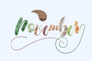 Print on Demand: November Letters with Leaf Autumn Embroidery Design By setiyadissi