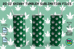 Print on Demand: Skinny Tumbler 20oz Dark Green Weed Graphic Quilt Patterns By MiracleMaker