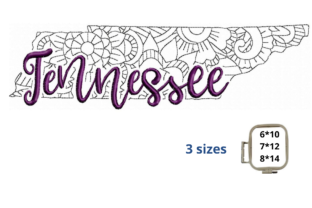 Tennessee State North America Embroidery Design By LaceArtDesigns