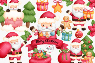 Print on Demand: Watercolor Christmas Clipart, Santa PNG Graphic Illustrations By Chonnieartwork