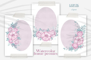 Print on Demand: Watercolor Frame Flower Clipart Png Graphic Crafts By LerVik