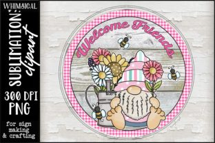 Welcome Friends Gnome Round Graphic Illustrations By Whimsical Inklings