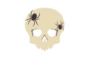 Skull with Spiders Crawling over It Halloween Craft Cut File By Creative Fabrica Crafts